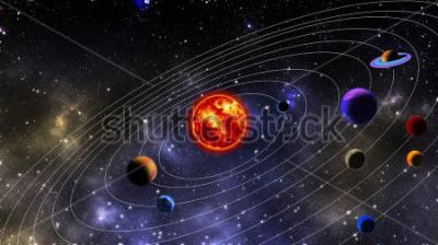 Carta da parati sistema solare. La fotografia viene preparata utilizzando il rendering 3D e la distribuzione del rumore gaussiano nel software di elaborazione delle immagini e nella codifica.