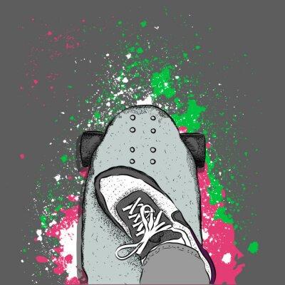 Carta da parati Skateboarder su uno skateboard. grunge background con macchie. illustrazione di vettore