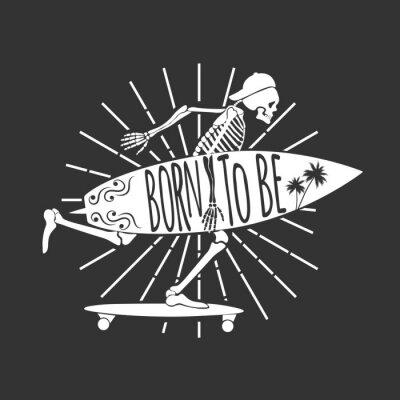 Carta da parati Skeleton Surfer. Logo. Nato per essere. Illustrazione vettoriale