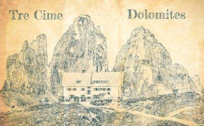 Carta da parati Sketch of Dreizinnen hut in Tre Cime, Dolomites