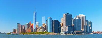 Carta da parati Skyline di edifici del distretto finanziario di New York Lower Manhattan Wall Street su una bella giornata estiva con cielo blu