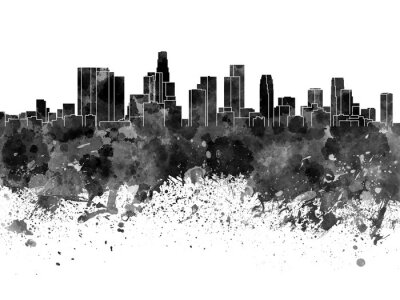 Carta da parati Skyline di Los Angeles in acquerello nero su sfondo bianco
