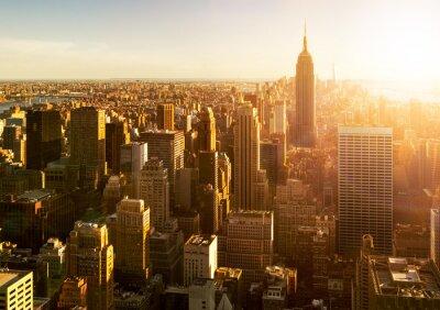 Carta da parati Skyline di Manhattan al tramonto a New York