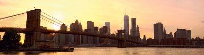 Carta da parati Skyline di Manhattan panorama con ponte di Brooklyn al tramonto, New York, Stati Uniti