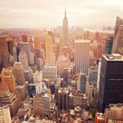 Carta da parati Skyline di New York City con effetto filtro retrò, Stati Uniti d'America.