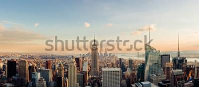Carta da parati Skyline di New York, guardando al centro di Manhattan. Immagine panoramica.