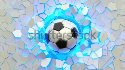 Carta da parati Soccer ball crash blue lighting white wall. The wall was cracked. 3D illustration. 3D high quality rendering.