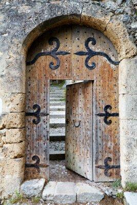 Carta da parati Socchiusa vecchia porta di legno