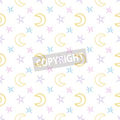 Carta da parati soffici stelle senza soluzione di continuità e la luna bambino sfondo notte. modello sogni d'oro