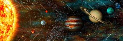 Carta da parati Solar panorama del sistema, pianeti nelle loro orbite, ultrawide