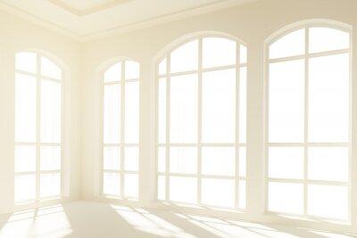 Carta da parati Soleggiato interno bianco con grandi finestre