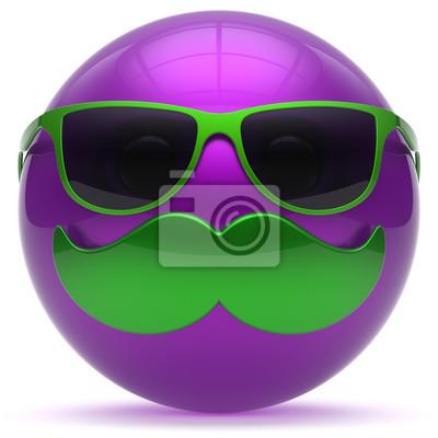 Sorridente baffi cartone animato faccia palla emoticon felice