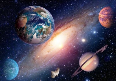 Carta da parati Spazio pianeta galassia Via Lattea sistema solare universo astronomia Terra Marte Saturno. Elementi di questa immagine fornita dalla NASA.