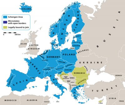 Carta da parati Spazio Schengen sulla mappa politica dell'Europa. Tutti i dati sono in strati per un facile editing mappa. Sfondo per i vostri infografica.