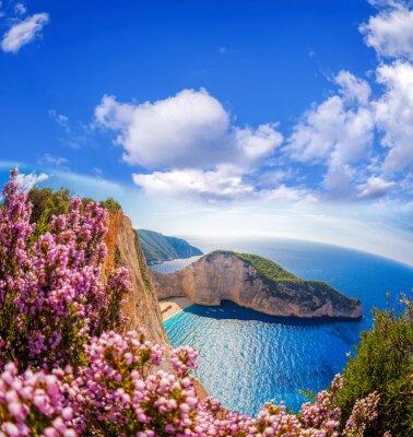Carta da parati Spiaggia di Navagio con il naufragio e fiori contro il cielo blu sull'isola di Zante, in Grecia