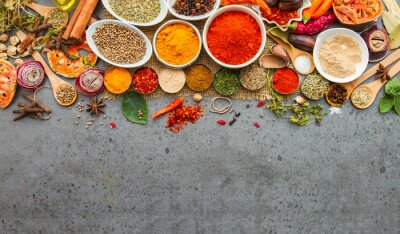 Carta da parati Spices and herbs.Food and cuisine ingredients.