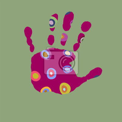 7a3d4a6a32 Carta da parati: Stampa con impronte di mani colorate su sfondo verde