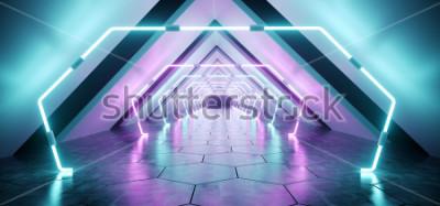 Carta da parati Stanza vuota del corridoio concreto riflettente straniero futuristico del tunnel con la porpora e il fondo blu d'ardore delle luci del fondo Illustrazione di rappresentazione del pavimento 3D di e