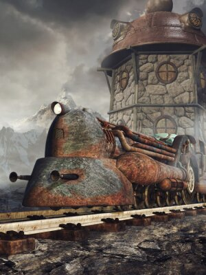 Carta da parati Stara zardzewiała Lokomotywa na tle wieży