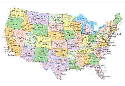 America Politica Cartina.Stati Uniti Damerica Altamente Dettagliata Mappa Politica Carta Da Parati Carte Da Parati Etichettatura Mappatura Politico Myloview It
