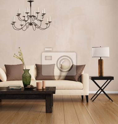 Stile contemporaneo brown, romantico interno soggiorno carta da ...