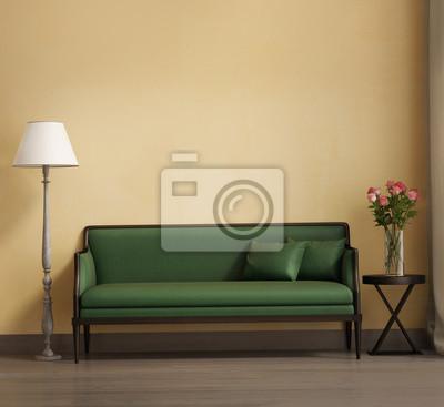 Carta da parati: Stile provenzale, romantico interno soggiorno, divano verde
