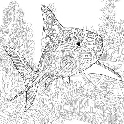 Stilizzata Composizione Sottomarino Di Squali Alghe Coralli Carta