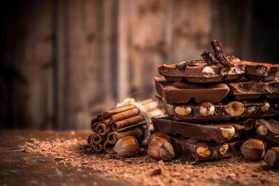 Carta da parati Still life di rotto barretta di cioccolato