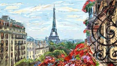 Carta da parati Strada a Parigi - illustrazione