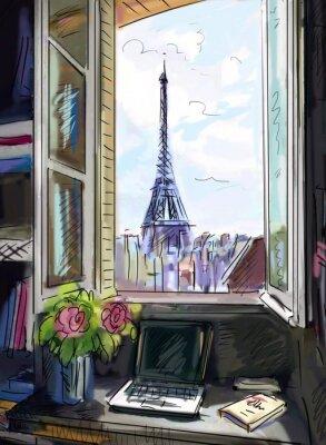 Carta da parati Strada di Parigi. Torre Eiffel - illustrazione