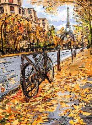 Carta da parati Strada in autunno di Parigi.