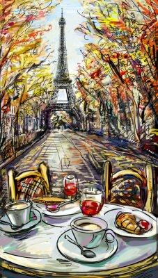 Carta da parati Strada in autunno di Parigi. Torre Eiffel -sketch illustrazione
