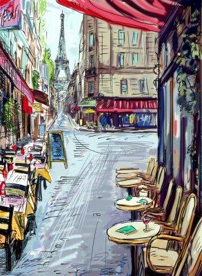 Carta da parati Strada in paris - illustrazione