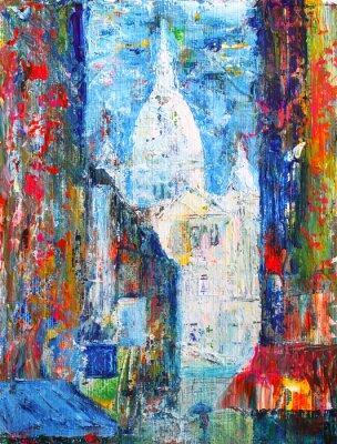 Carta da parati Strada Montmartre, a Parigi, in Francia verniciata da acrilico