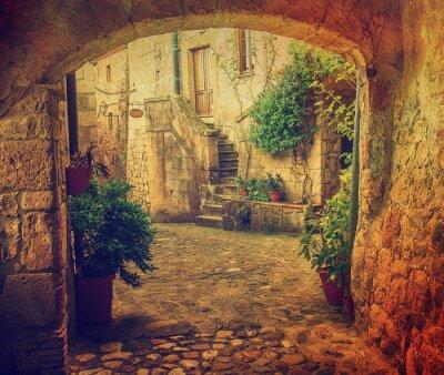 Carta da parati Stradina di tufo della città medievale di Sorano con arco, piante verdi e ciottoli, Viaggi Italia sfondo d'epoca