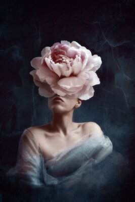 Carta da parati Strange fine art concept. The body of a woman, her head is a peony