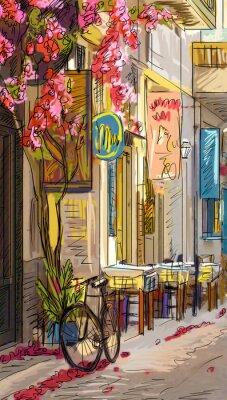 Carta da parati Street a Roma - illustrazione