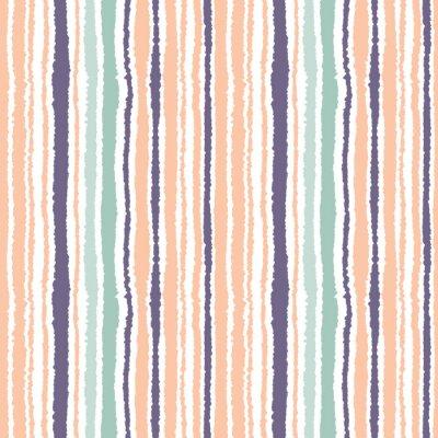 Carta da parati strisce Seamless pattern. Linee sottili verticali. carta strappata, sminuzzare consistenza bordo. Arancio, blu, bianco morbido sfondo di colore chiaro. Vettore