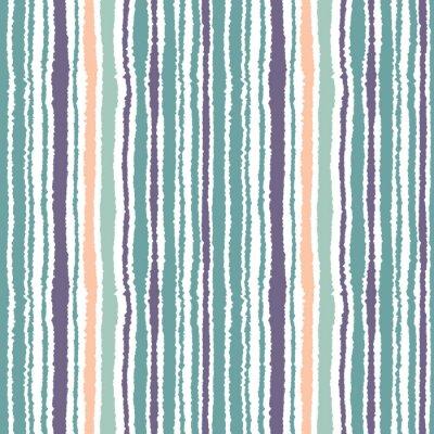 Carta da parati strisce Seamless pattern. Linee sottili verticali. carta strappata, sminuzzare consistenza bordo. Blu, bianco, arancio dolce di colore. Vettore