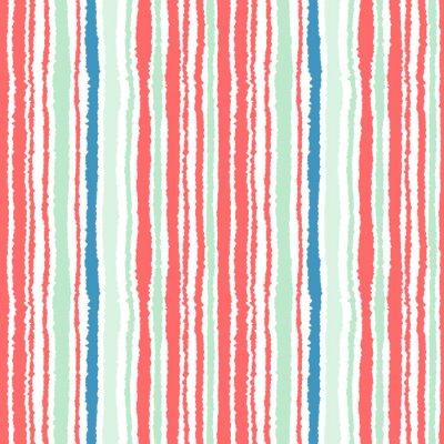 Carta da parati striscia modello trasparente. Le linee verticali con effetto carta strappata. sfondo bordo distruggere. Freddo, morbido, verde, blu, rosso, colori bianchi. Inverno tema. Vettore