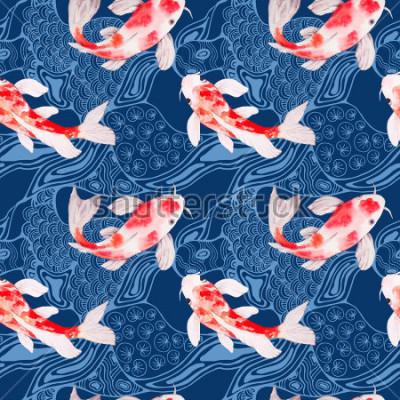 Carta da parati Struttura senza cuciture del modello del pesce di koi dell'acquerello con le onde sul contesto