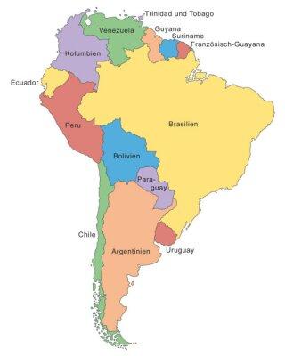 Carta da parati Sud America mappa a colori (con didascalia)