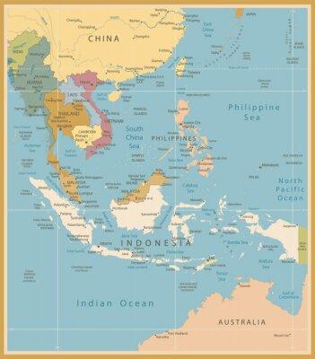 Carta da parati Sud-Est asiatico mappa dettagliata colori vintage