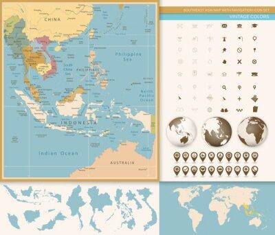 Carta da parati Sud-Est asiatico mappa dettagliata con Navigation Icon Set.