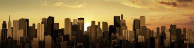 Carta da parati Sunrise-sunset city panorama / 3D render of modern city at sunrise or sunset