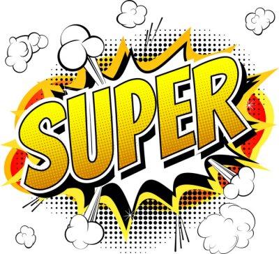 Carta da parati Super - Comic book style word isolated on white background.