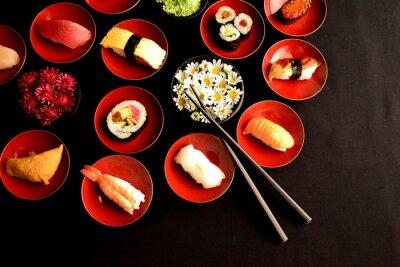 Carta da parati Sushi con i crisantemi