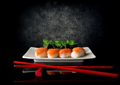 Carta da parati Sushi con le bacchette
