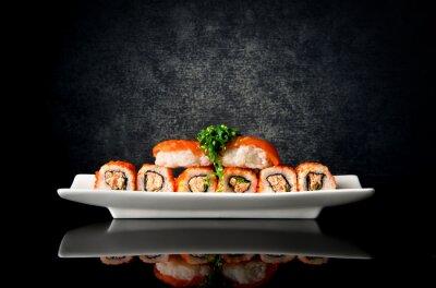 Carta da parati Sushi e rotoli in lamiera