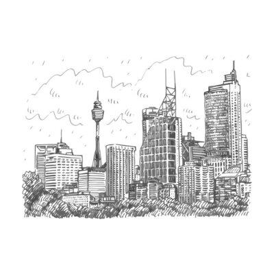 Carta da parati Sydney Tower e grattacieli vista di Sydney, Australia. Vector matita a mano libera schizzo.